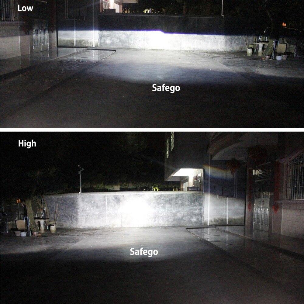 Купить с кэшбэком Safego LHD 2.5 Inch Car Bixenon HID Projector Kit Hi/Lo Beam 2 Lens+2 Shrouds for H1 H4 H7 Xenon Halogen Headlight No Angel Eyes
