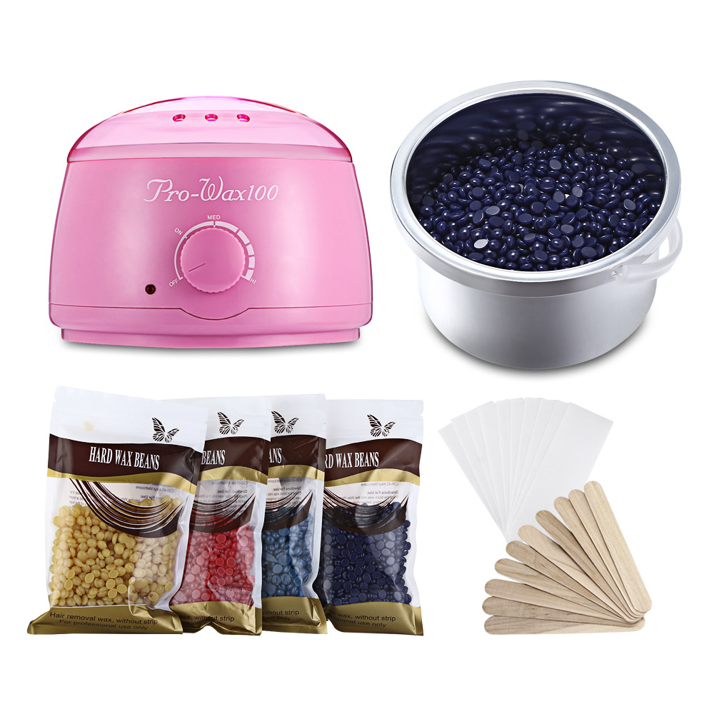 Electric Wax Heater Warmer Depilatory Pro Hair Removal Machine With 4 X Pack Of Wax Beans + 10 X Paper + 10 X Stick Waxing Kit sealing wax stick wax seals kit for hobby craft projects wedding party invitations envelopes gift wrap bottle gadget accessories