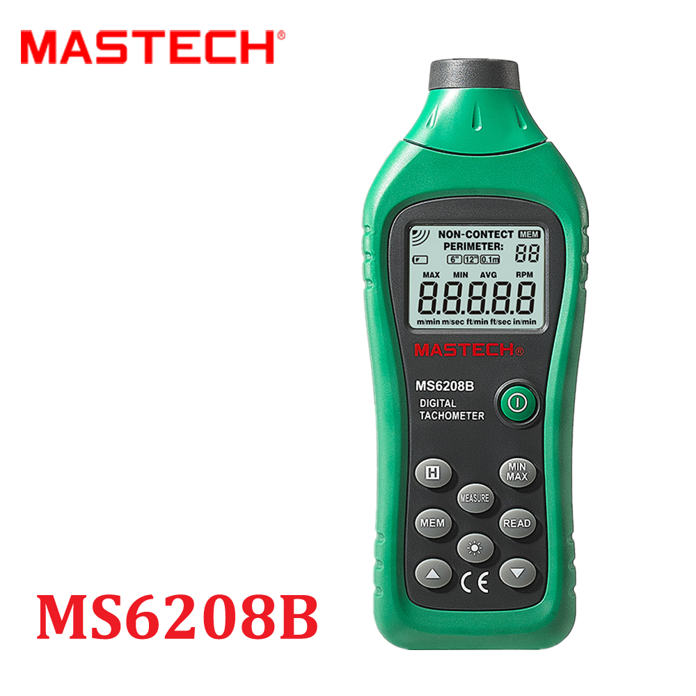 ФОТО MS6208B Non-contact  Digital Tachometer RPM Meter With 50-99999RPM Rotation Speed Range Digital Laser Tacometro Mastech