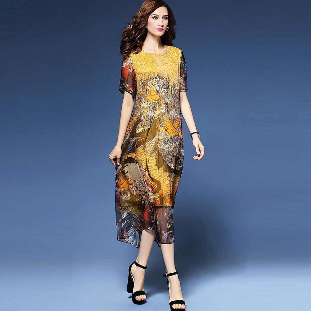 c81f25b1c51 H роскошное желтое платье Летнее шифоновое платье Одежда большого размера с рисунком  длинное платье