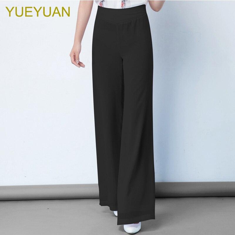 YUEYUAN women high waist loose chiffon wide leg pants straight double layers elegant long summer trousers plus size S 6XL 8XL