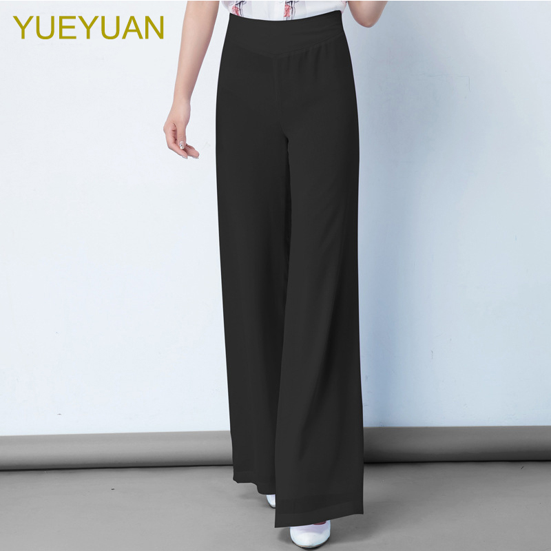 YUEYUAN women high waist loose chiffon   wide     leg     pants   straight double layers elegant long summer trousers plus size S 6XL 8XL