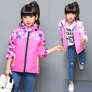 Image 3 - Spring Casual Windproof Breathable Print Girls Jackets Child Coat Sporty Children Outerwear For 3 14 Years Old