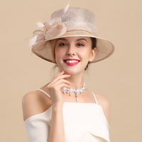 Fashion Flat Top Fedoras Hat Sunshade Retro Aristocratic Feather Beach Visor Cool Women Hats Royal Ascot Ladies Day Cap H6629