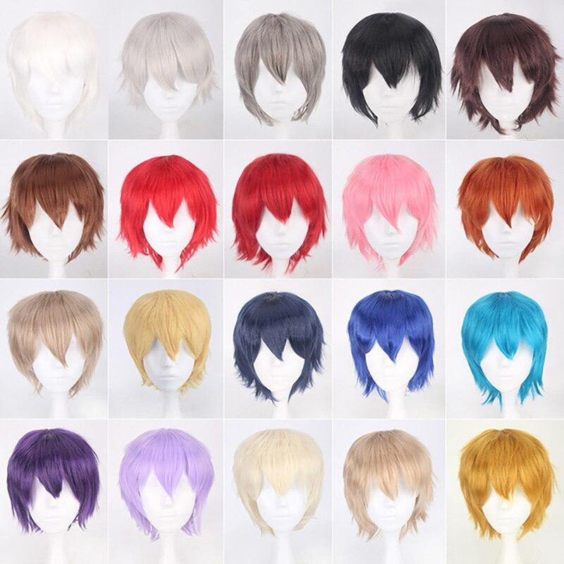 20 cores preto branco roxo loiro vermelho cabelo curto peruca cosplay masculino feminino festa amine perucas de cabelo curto em linha reta para meninos meninas