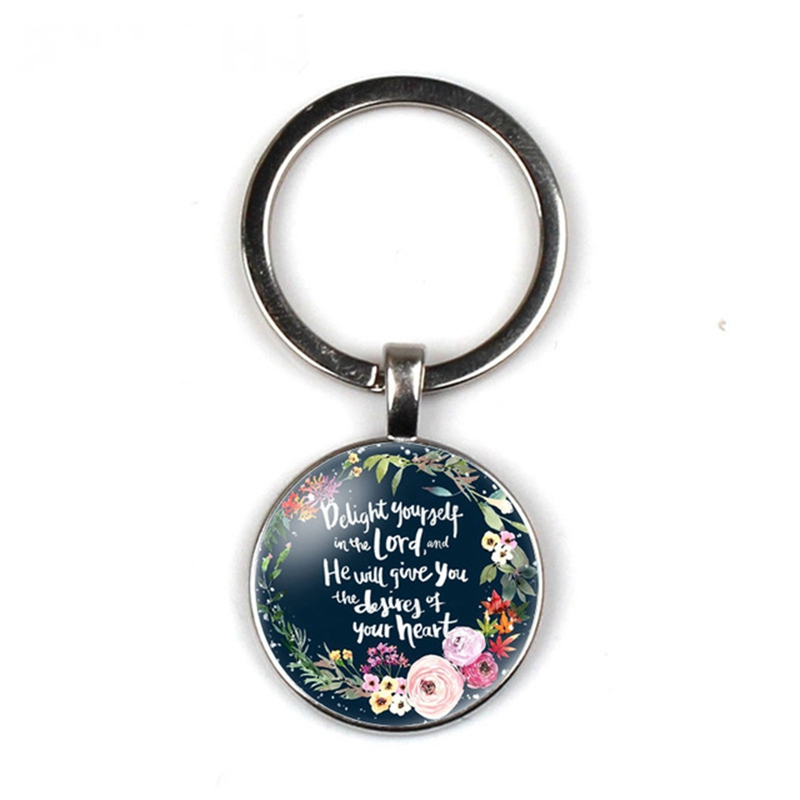 Fashion Catholic Bible Scripture Keychain Round Pendant Keyring Glass Scriptures Quotes Charm Christian Key Chain Religious Gift