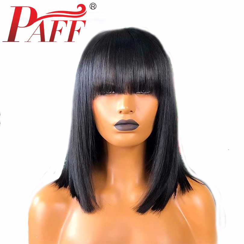 PAFF Straight Short Bob Silk Base Wig With Bangs 130%Density 4x4 Silk Top Lace Front Human Hair Wigs Pre Plucked Full End