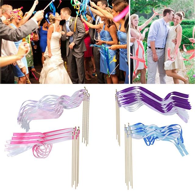 10pcs Set Wedding Ribbon Wands Stream Sticks Metal End With Bells 4