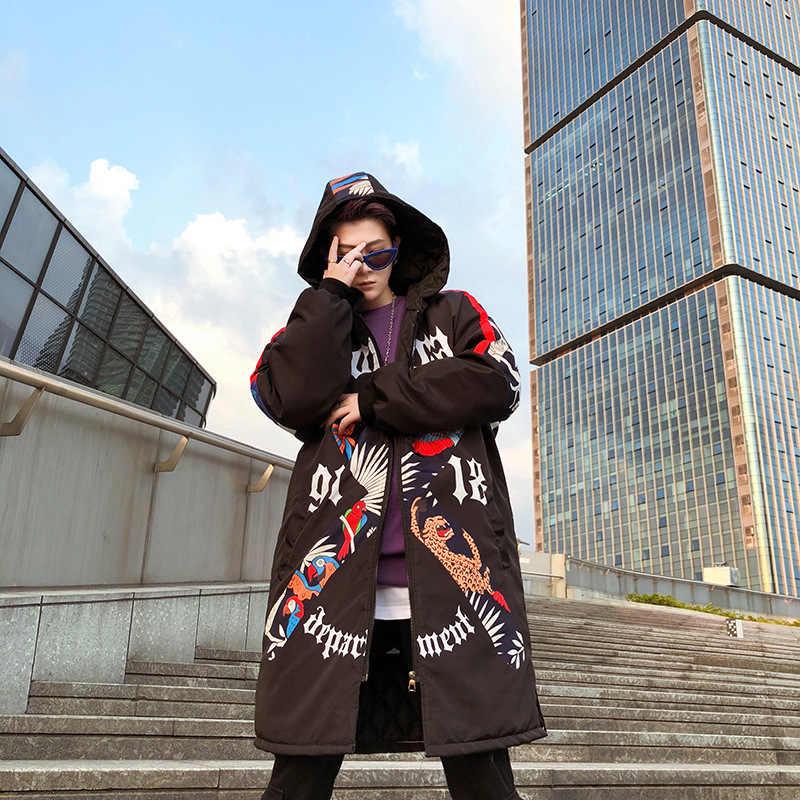 Novo graffiti impresso com capuz algodão parka inverno acolchoado longo outerwear hip hop solto engrossar jaquetas e casacos yt50152