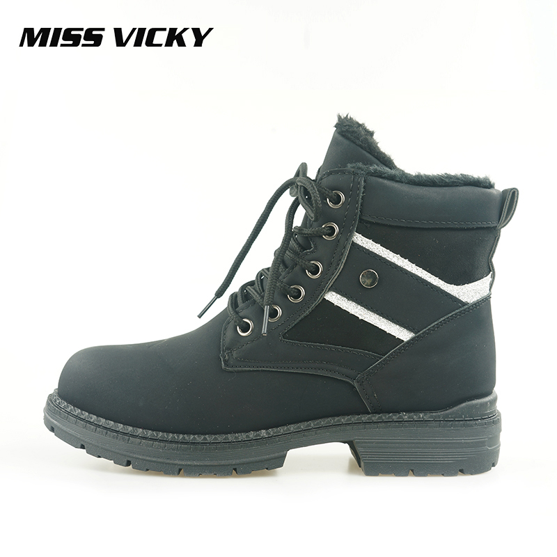 MISS VICKY New Plush Martin Boots Casual Street Fashion Women's Martin Boots Ankle Lace Up Women's Motorcycle Boots