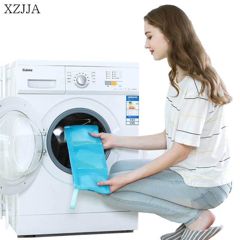 XZJJA Zipper Laundry Bags Home Clean Package Underwear Socks Washing Machine Mesh Bag Washing Pouch 3 Grid Protector Net Case