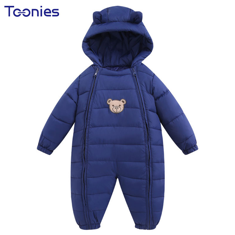 Thick Hooded Baby Girls Boys Romper Winter Newborns Clothes New Cartoon Pattern Infants Jumpsuits Double Zipper Toddler Rompers