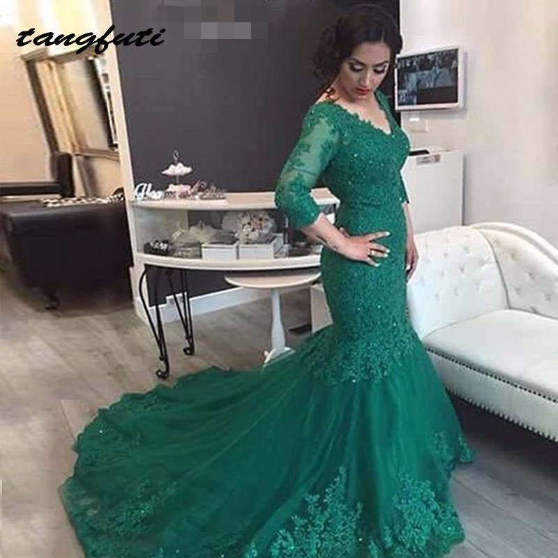 Long Sleeve Mother of the Bride Dresses for Weddings Women Party Lace Mermaid Green Evening Dress