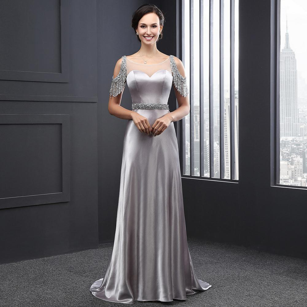 2016 Latest Luxury Silver Beaded Sashes Backless Evening