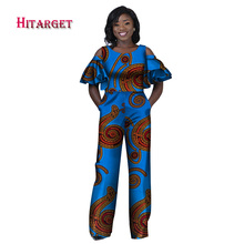 2017 African Print Women Jumpsuit Ruffles O-Neck Sleeveless Autumn Sexy Romper Wide Leg Ladies Jumpsuits Rompers WY2086