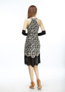 Image 5 - Femmes 1920s Sequin Paisley motif sans manches dos nageur clapet noir or robe Sexy frange magnifique Gatsby robe de soirée