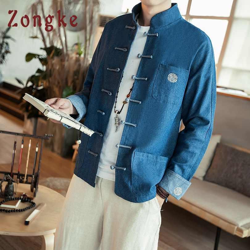 Zongke 中国スタイルデニムジャケット男性ストリート服ジーンズジャケットの男性ヒップホップウインドブレーカー男性ジャケットコート 5XL 2019 春