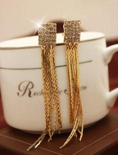 Rhinestones star quality long tassels ear clip non pierced earrings,clip earrings without piercing largos
