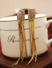 Здесь можно купить  Rhinestones star quality long tassels ear clip non pierced earrings