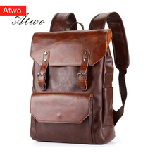men/boy 15.6 Backpacks pu Faux Crazy horse Leather  Fashion Backpack Bag WaterProof Daypacks mochila