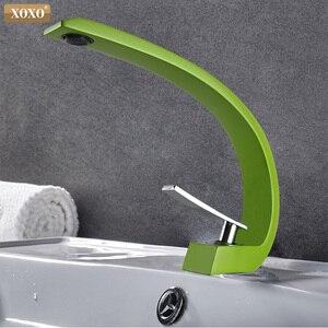Image 5 - XOXO havza musluk Modern banyo musluk bataryası pirinç lavabo musluk tek kolu tek delik zarif vinç banyo 83006
