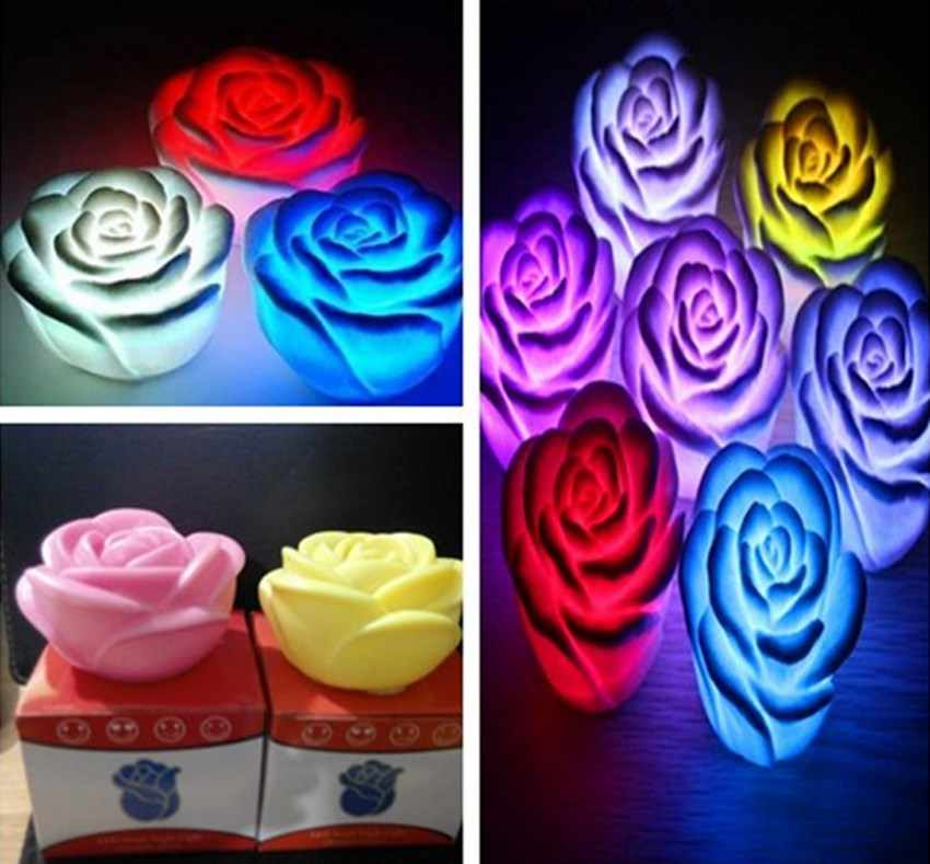 7 Colors Changing Auto Flameless Romantic Rose Shaped LED Xmas Wedding Party