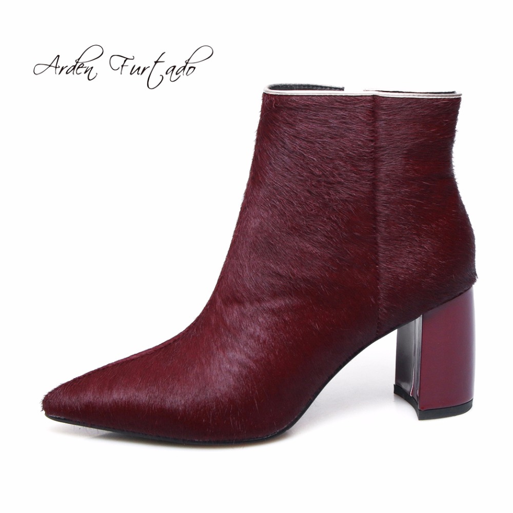 أردن Furtado جديد 2017 الشتاء شعر الخيل عالية الكعب 7 سنتيمتر حذاء من الجلد سستة بورجوندي أحذية أنيقة للمرأة ماتان الأحذية النساء-في أحذية الكاحل من أحذية على  مجموعة 1