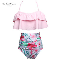 2017 Bikini Set Double Ruffle Swimwear Women Sexy Swimsuit Off Shoulder High Waist Floral Halter Bandage