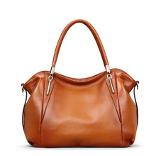 2019 new women's bag European and American fashion business portable leather casual top layer leather ladies shoulder bag silk ladies new first layer leather crocodile pattern european and american fashion shoulder diagonal portable boston leather handbag