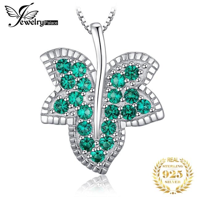 JewelryPalace Lá Phong Nano Nga Mô Phỏng Ngọc Lục Bảo Mặt Dây Chuyền Nữ Bạc 925 Mặt Dây Chuyền Không Bao Gồm MỘT Dây Chuyền