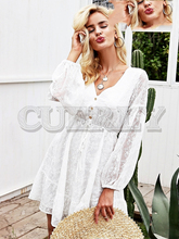 CUERLY V neck lantern sleeve mini dress Elegant lace up button women Sexy mesh summer autumn robe femme ete 2019