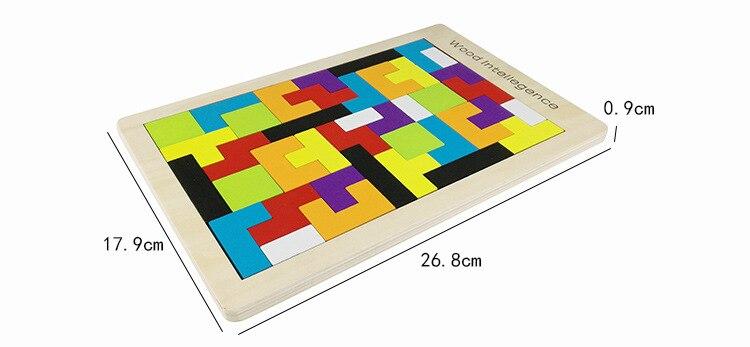Atacado 100 Pcs/Carton Tetris Puzzle Brinquedo De Madeira Do Jogo Da Família de Construção Geométrica Tangram Criança Brinquedos Do Bebê Presente de Aniversário - 6