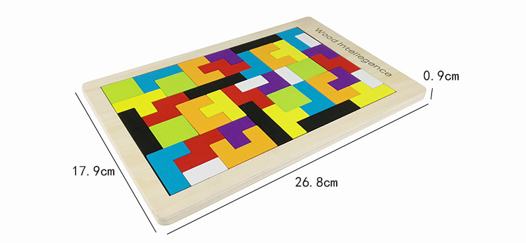 Gros 100 pièces/Carton Tetris Puzzle en bois jouet famille jeu construction géométrique Tangram enfant bébé jouets cadeau d'anniversaire - 6