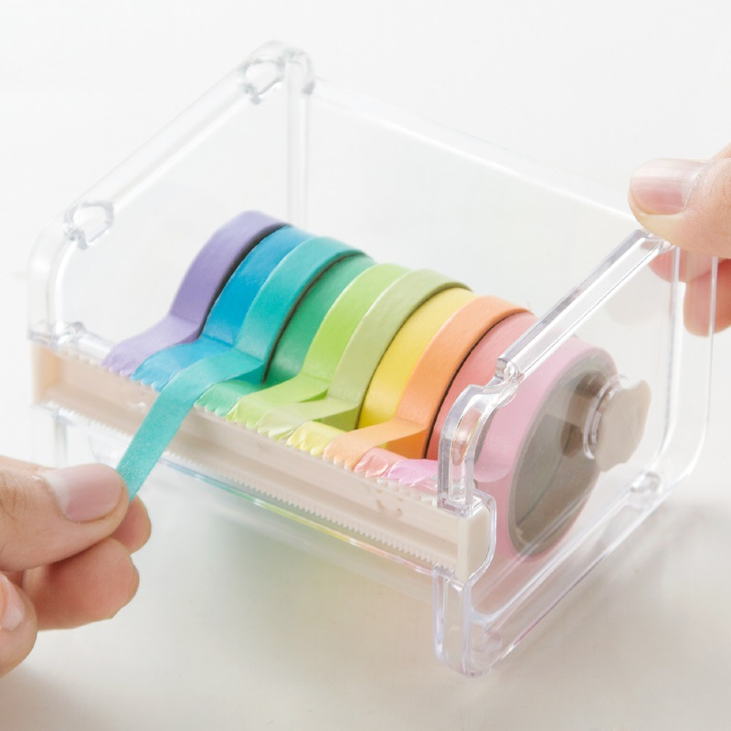 1 Layer Washitape Dispenser Storage Case+10PCS Tapes Sale / Masking Tape Organizer / Stackable Washi Tape Holder/Tapes Cutter high capacity japanese masking tape storage cutter multi rolls round washi tape storage organizer cutter office supplies