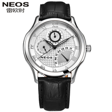 NEOS Brand Leather Men's Watches Multi-functional Sports Watch Male Waterproof Students Simple Fashion Casual Retro Style