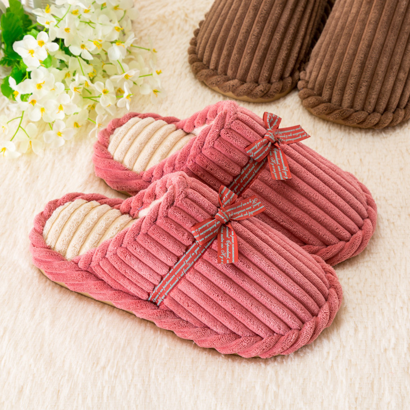 Indoor Slipper Women Shoes Winter Warm Plush House Slippers Flock Home Shoes Soft Striped Cotton Room Ladies Flat Slippers AVT35 plush slipper expression men and women slippers winter house shoes lovely warm indoor slippers soft plush shoe zapatos de mujers