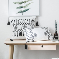 iDouillet Black & White Decorative Tassels Cotton Knit Throw Pillow Case Arrow Cushion Cover Square 18x18 Rectangle 12x20