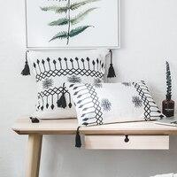 iDouillet Black & White Decorative Tassels Cotton Knit Throw Pillow Case Arrow Cushion Cover Square 18x18 Rectangle 12x20