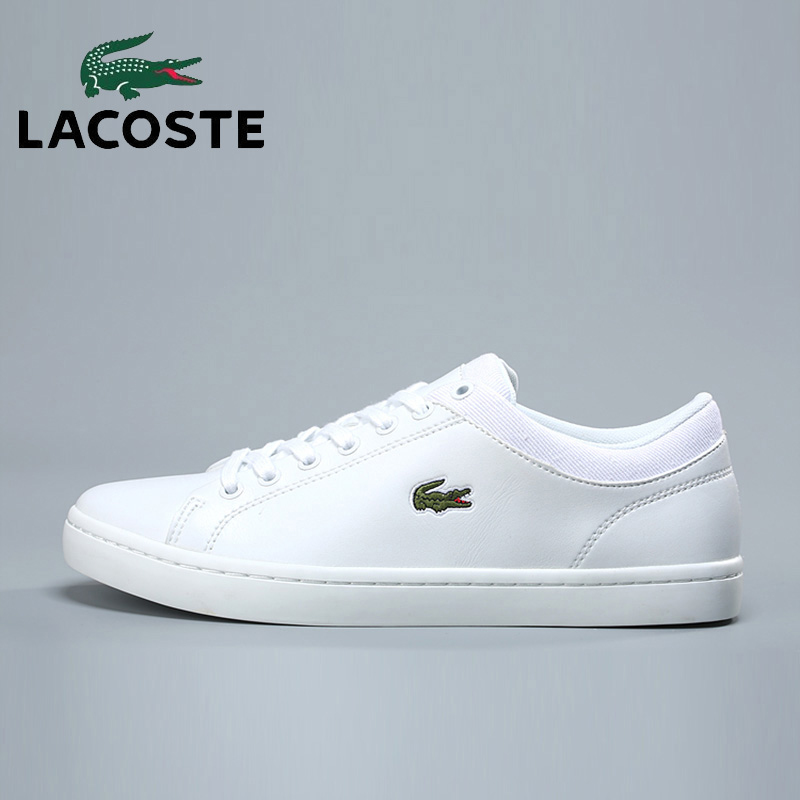 Lacoste Men 2018 Outdoor Soccer Athletic Sneakers White Leather Tennis Sports Walking Shoes Men's Basketball Skateboarding Shoes nike men s indee high shoes athletic sneakers leather white