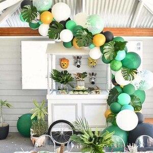Image 2 - ジャングルパーティー用品バルーン花輪キット、ヤシの葉ラテックスバルーン花輪恐竜森ハワイ夏パーティーの装飾