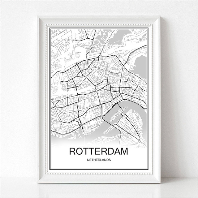 World city map rotterdam netherlands print poster abstract coated paper bar cafe pub living room home