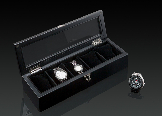 Top 5 Grids Display Watch Box Black Wood Watch Storage Box With Lock Fashion Wooden Watch Gift Jewelry Box D0266