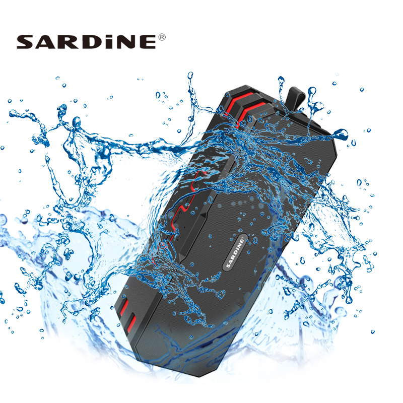 Sardine F4 Waterproof Bluetooth Speaker Super Bass Subwoofer Wireless Portable Outdoor 12W Loudspeakers Built 5000mah Battery fashion nfc bluetooth speaker outdoor wireless usb waterproof stereo loudspeakers super bass speakers musics play for phone