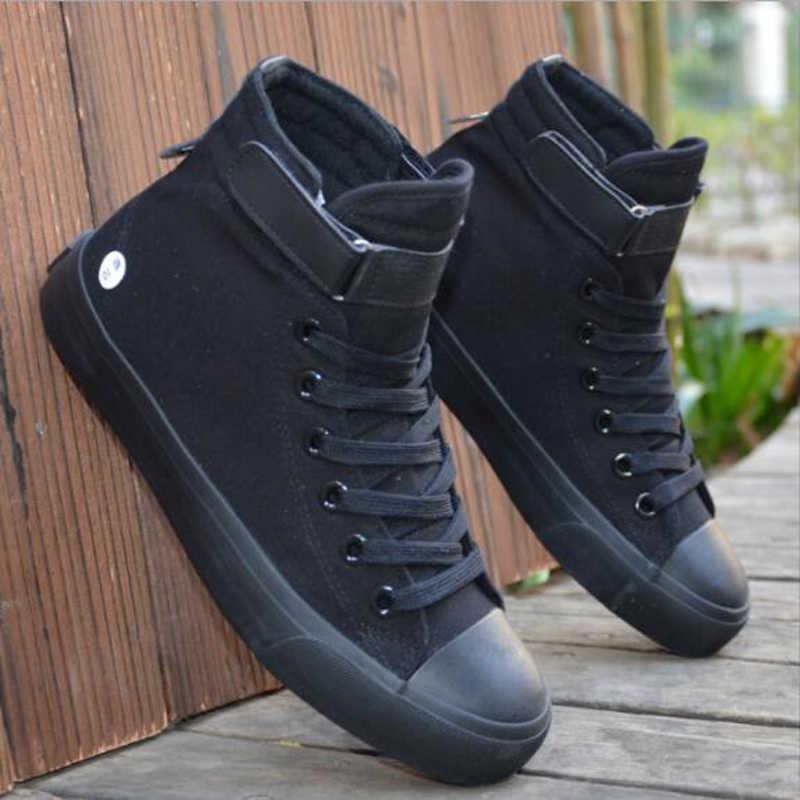 Мужская парусиновая обувь Демисезонный 2018 босоножки высоком Стиль черный Модная обувь на плоской подошве обувь Молодежная обувь для студентов Лидер продаж вулканическая обувь W