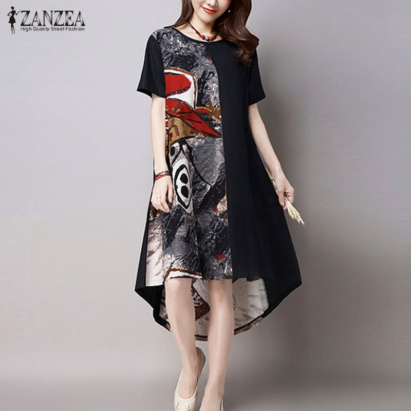 Zanzea 2017 vintage summer mujeres print dress casual o cuello de manga corta do