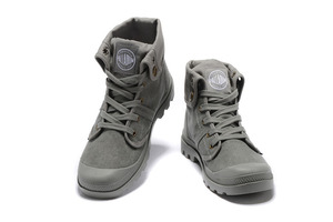 Image 4 - PALLADIUM Pallabrouse All Grey Sneakers Men High top Military Ankle Boots Canvas Casual Shoes Men Casual Shoes Eur Size 39 45