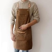 2019 BBQ Canvas Apron Bib Leather Chef Kitchen Apron For Women Men Barista Bartender Pockets Home Barber Cook Coffee Restaurant