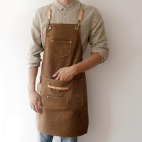 2019 BBQ Canvas Apron Bib Leather Chef Kitchen Apron For Women Men Barista Bartender Pockets Home Barber Cook Coffee Restaurant