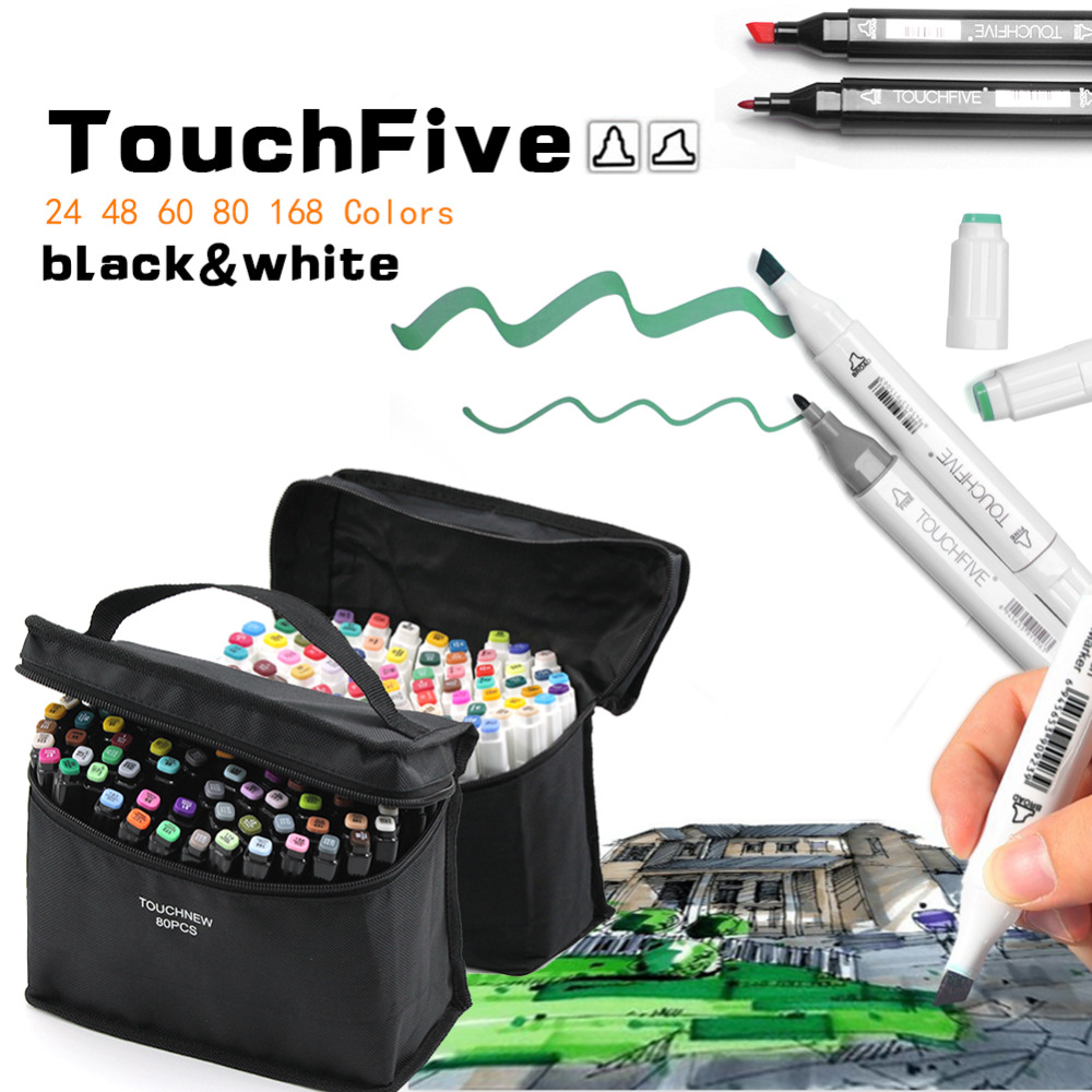 TOUCHFIVE Art Markets Set 24/40/60/80/168 Colors Alcohol Pen Dual Tip Sketch Marker Calligraphy/Dual Brush Graffiti Pen