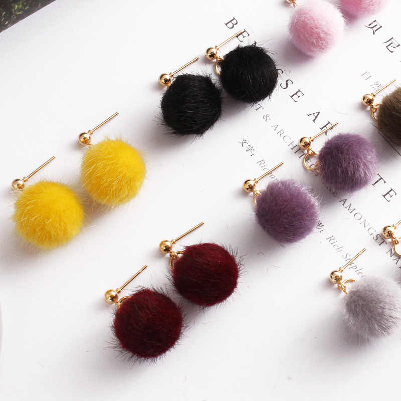 2017 new jewelry simple autumn and winter hairy velvet beads ball short paragraph earrings cute candy earrings